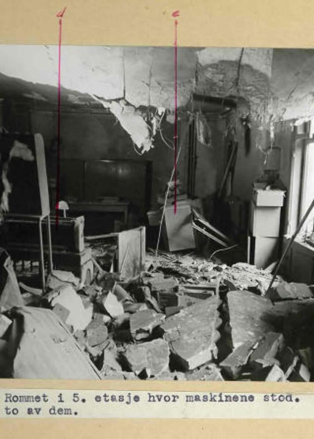 EKSPLOSJONEN I GRENSEN 17: 8. juni 1944 sprengte motstandsbevegelsen et NS-kontor i Oslo sentrum. Meningen var å ødelegge registreringsmaskinene som skulle benyttes til å holde styr på norske ungdommer som skulle innkalles til krigstjeneste.