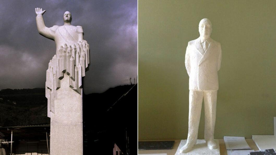 TO VARIANTER:  Den første Kong Olav-statuen (til venstre) ble beskyldt for et fascistisk uttrykk. - Honnør og verdighet, sier juryen om dagens nye vinnerutkast. FOTO: SIV SEGLEM/DAGBLADET OG SCANPIX.