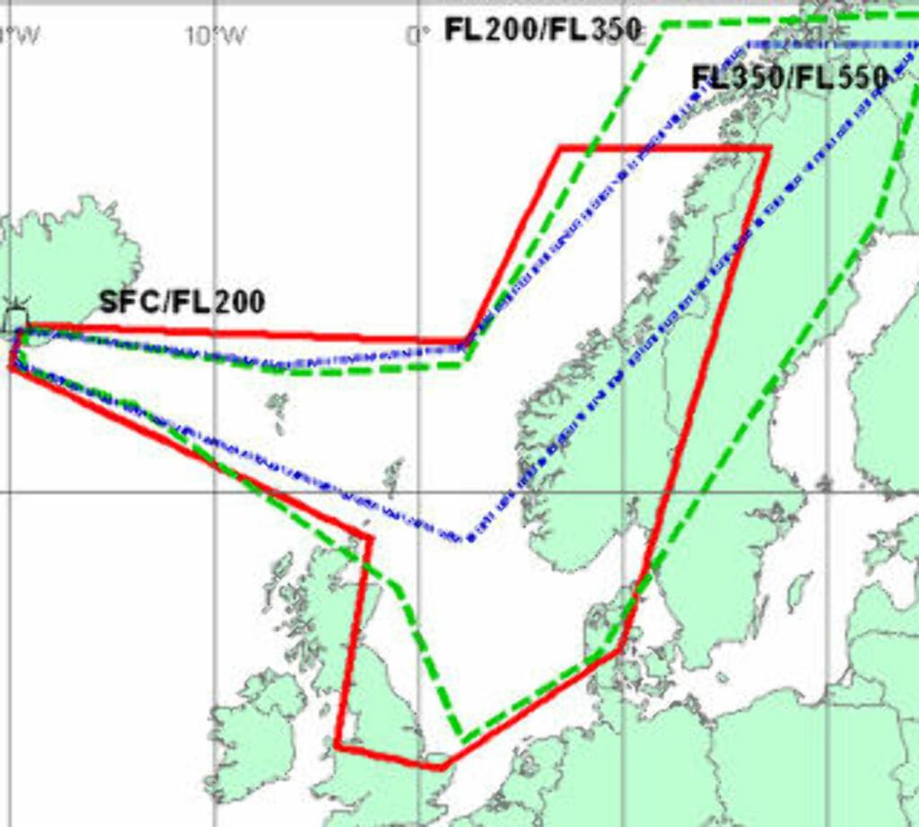 NORGE PÅVIRKES: Rød: Fra bakken til 20 000 fot. Grønn: Fra 20 000 til 35 000 fot. Blå: Fra 35 000 til 55 000 fot.
