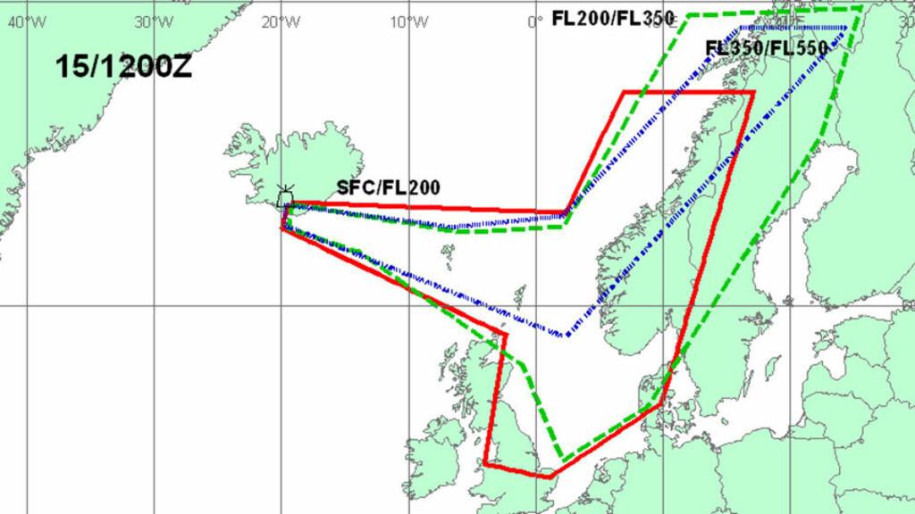 SLIK VIL ASKEN KOMME: Dette er en prognose for i morgen klokka 12. Den røde streken viser hvor asken vil befinne seg fra bakken og opp til 20 000 fot. Dette er trolig det som daler ned på Norge. Den grønne streken viser området flyene kan ha problemer med å fly; mellom 20 000 og 35 000 fot. Den blå streken, som forbigår Oslo, påvirker et mindre område, fra Fra 35 000 til 55 000 fot. Foto: Met Office