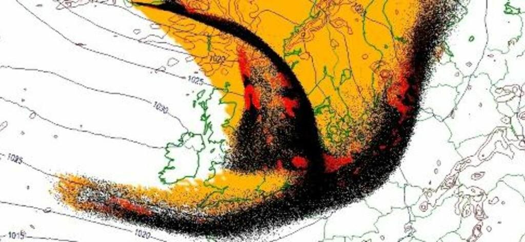 ASKESKY: Meteorologisk institutt har tilgang til beregningsmodeller som tar utgangspunkt i en kilde som sprer partikler (for eksempel en vulkan i utbrudd). Modellen kalles SNAP. Med dette som grunnlag, og med tilgang på all relevant værinformasjon, kan instituttet beregne askeskyens bane de nærmeste dagene. Slik vil det se ut i morgen fredag 16. april kl 11. Foto: Meteorologisk institutt / Scanpix