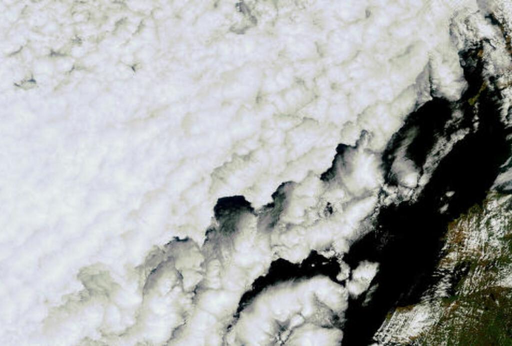 SVÆRT: ESAs miljøsatellitt Envisat tok i dag dette bildet av askeskyen - den grå stripen - over Storbritannia. Se hele bildet på ESAs nettsider. Foto: ESA/ENVISAT