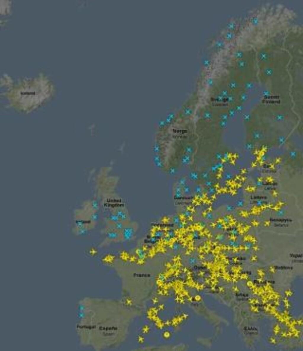 FLYTRAFIKKEN RAMMET: TOMT: Luftrommet over Skandinavia, England, Spania, Portugal og Frankrike er stengt. Grafikk: Flightradar24.com