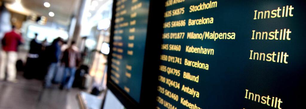 STENGT FOR TRAFIKK:Hele det norske luftrommet ble i formiddag stengt for trafikk. Det ser ut som kanselleringene fortsetter i morgen.  Foto: ØISTEIN NORUM MONSEN/DAGBLADET