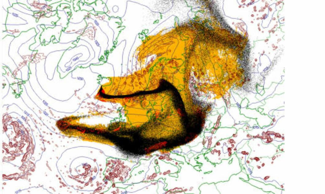 ASKEPROGNOSE over Europa for 17. april 2010 kl. 15. Gult felt: Oppsamlet nedfall; aske som har falt ned av seg selv. Rødt felt: Oppsamlet nedfall: aske som har falt ned som følge av nedbør. Sort felt: Her er askeskyen akkurat nå. Kilde: Meteorologisk institutt.