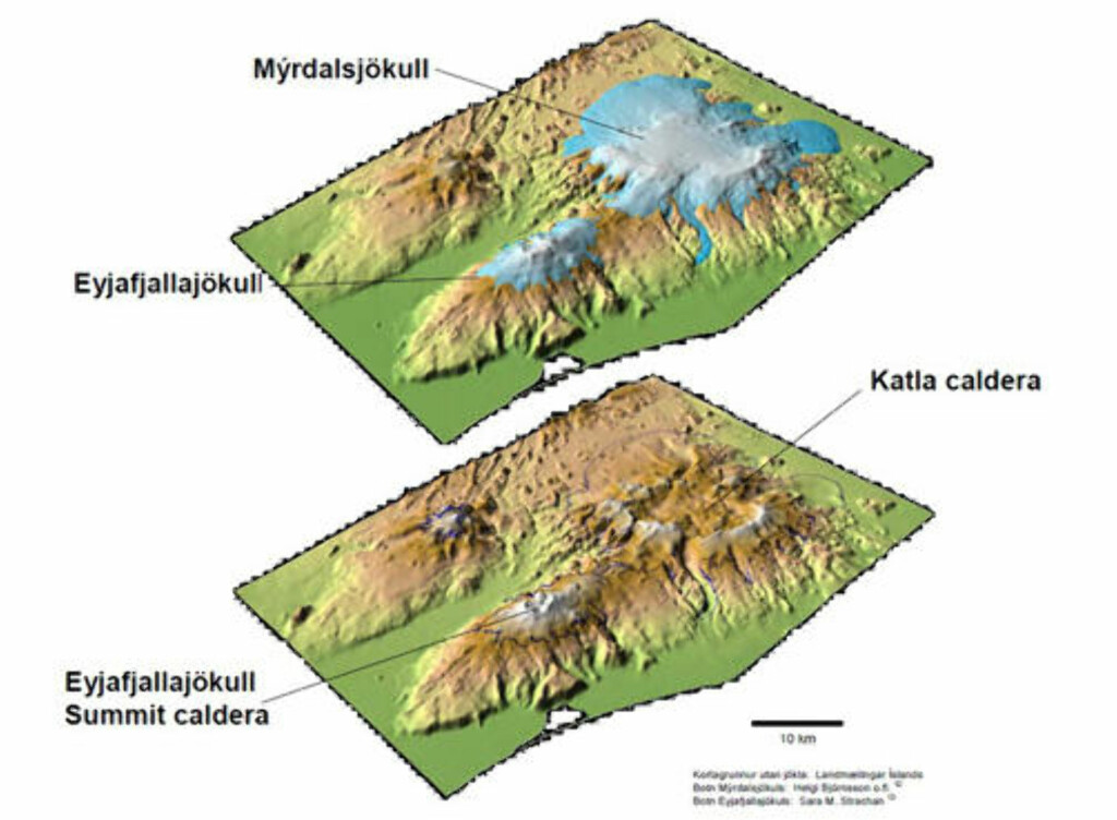 «DANSER TANGO»: Eyjafjallajökull og Katla ligger bare 20 km fra hverandre. En kaldera er for øvrig ikke et aktivt krater, men en nedsynkning etter at vulkanen har tømt seg ferdig. Som vist i dette bildet er det betydelig størrelsesforskjell mellom Eyafjallajökulls kaldera og den du finner på storesøster Katla. Grafikk: LANDMÆLINGAR ÍSLANDS, HELGI BJÖRNSSON, SARA M. STRACHAN, M.FL.