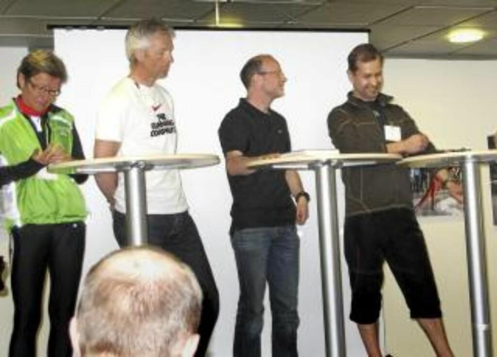 HOLMGANG: Samlet til debatt om løpesko. F.v. Ingrid Kristiansen, Håvard Nordgård, Tor Fauske, Henri Henell, Ronny Ingebrigtsen og Kjetil Rolness. Foto: Anders Rasch