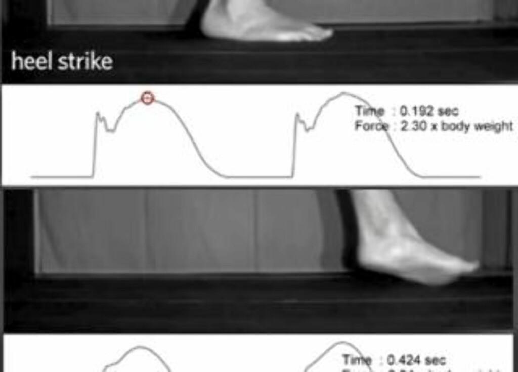 BELASTNING: Disse bildene fra Youtube-videoen under, viser belastning for hælpronasjon (de to øverste bildene) og tåpronasjon (de to nederste).