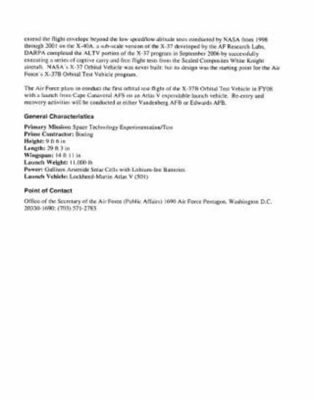 Se det offisielle faktaskrivet til romflyet som pdf her. Faksimile: U.S. Air Force