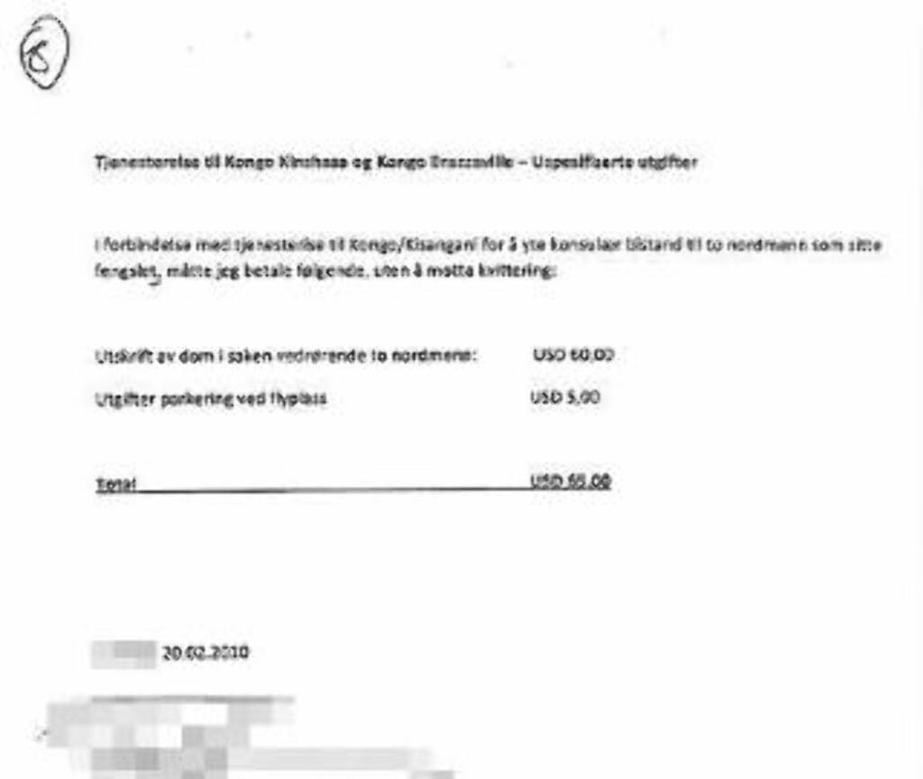 USPESIFISERTE UTGIFTER: Dette bilaget viser beløpet det ikke finnes noen kvittering for.