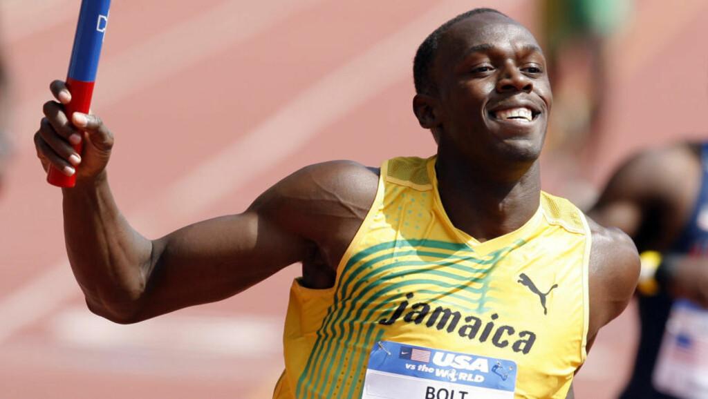 INN FØRST: Usain Bolt løp inn jamaicansk seier i sprintstafetten i Philadelphia. Foto: Tim Schaffer / REUTERS.