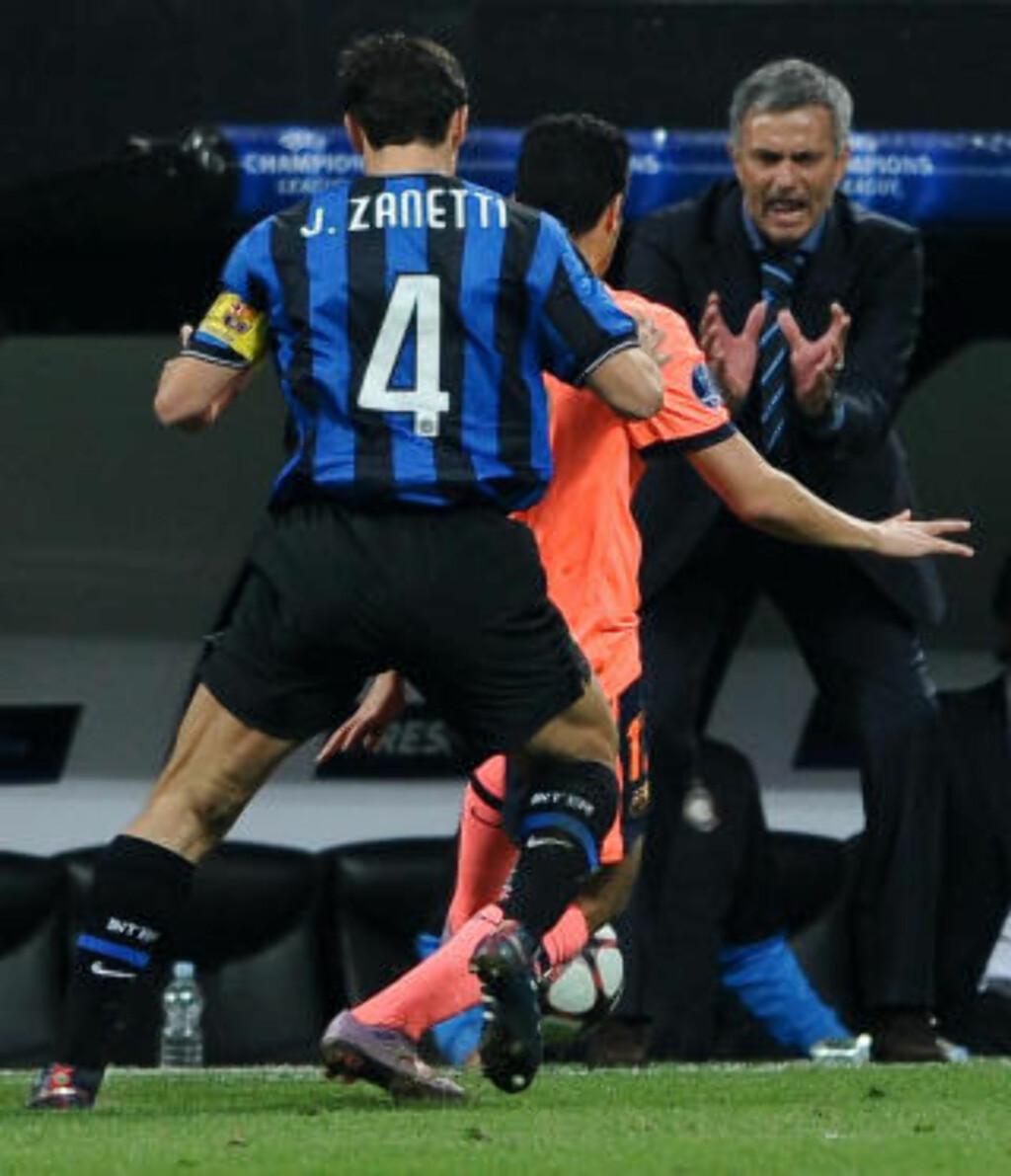 GJENNOMBRUDDSHISSIG: Drillo likte Jose Mourinhos angrepsfotball i den første kampen mot Barcelona. Foto: AFP/ ANDREAS SOLARO