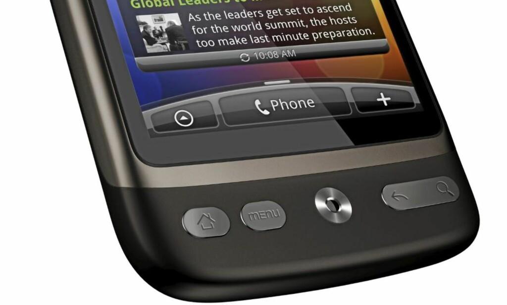 STØRRE SKJERM: Selv om HTC Desire har større skjerm enn HTC Legend, har ikke størrelsen vokst særlig mye. En av årsakene er at knappene har fått en mer komprimert form enn på HTC Legend. Foto: Produsent