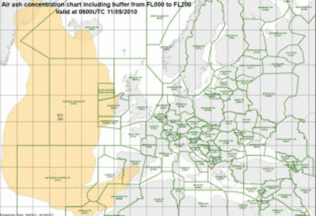 SLANGER SEG OPP I SPANIA: Dette er utbredelsen av sone 1, hvor det hersker flyforbud, per nå. Dette gjelder for luftrommet fra havnivå opp til 20 000 fot. Grafikk: EUROCONTROL