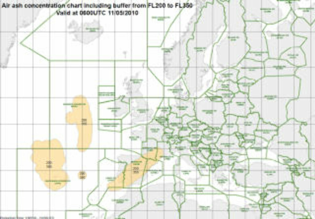 NEDSATT KAPASITET: Askevarselet for 20 000 til 35 000 fører til kapasitetsreduksjon i deler av luftrommet over Spania. Grafikk: EUROCONTROL