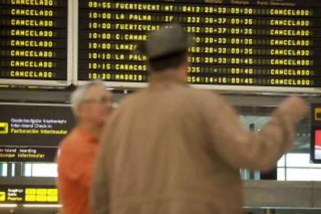 CANCELADO: Avganger fra Tenerife instilles på grunn av islandsk aske. Foto: EPA/Ramón de la Rocha/SCANPIX