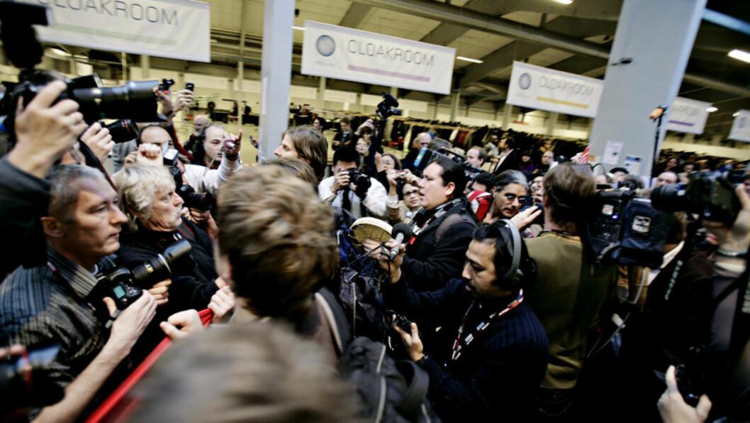 <strong>JOURNALISTSTREIK?:</strong> Journalistene i 122 mediebedrifter i Norge kan bli tatt ut i streik. Her fra Bella Center under klimakonferansen i København.