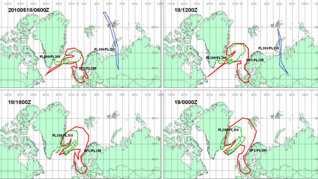 SLIK BEVEGER ASKEN SEG: I dag og i morgen vil askeskyen bevege seg som vist på dette kartet, ifølge meteorologiske undersøkelser. KART: London Volcanic Ash Advisory Centres