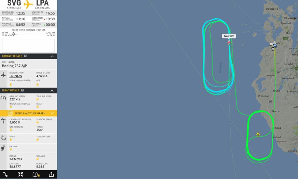 FEIL VEI TIL LAS PALMAS: Norwegian 737 skulle egentlig til Las Palmas, men dekket punkterte under avgang. Flyet sirklet i over tre timer for å kvitte seg med drivstoff fordi det var for tungt til å lande. Bilde er tatt klokka 16:30. Foto: Skjermbilde/ Flightradar24.com