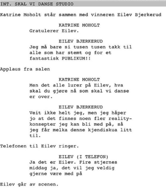SPØK: Manuset til komiker Espen Lervaag. Foto: Instagram/privat