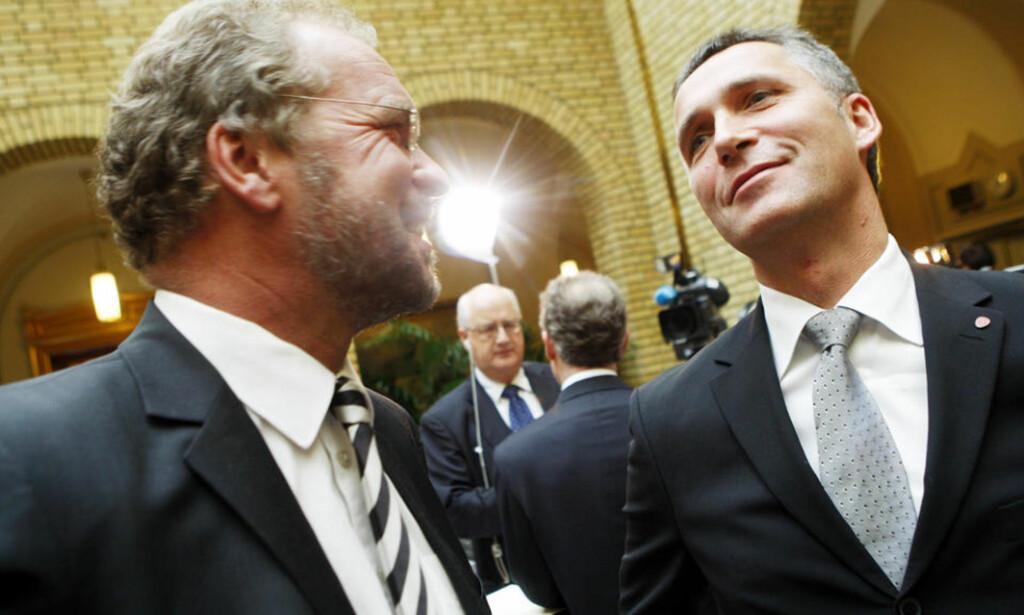 HAR MYE FELLES: Venstres Lars Spoheim (t.v.) og statsminister Jens Stoltenberg. Foto: HEIKO JUNGE/SCANPIX