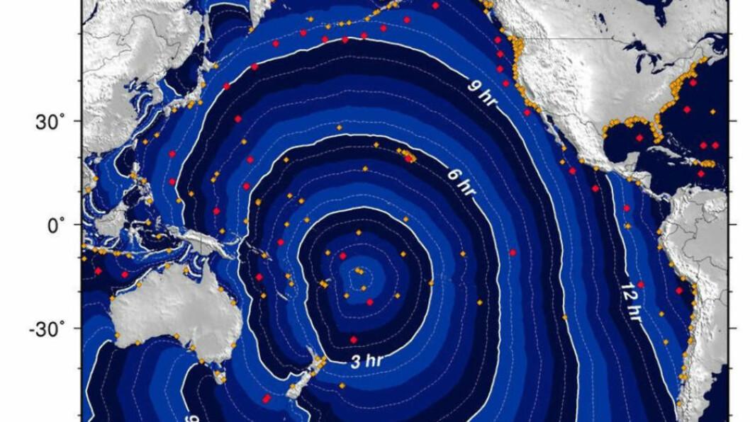 <strong>TSUNAMI:</strong> Dette kartet viser tsnuamiens bevegelser. Foto:  AFP PHOTO/Scanpix