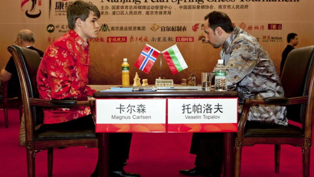 UTILNÆRMELIG: Magnus Carlsen fikk en perfekt start på den kinesiske superturneringen Nanjing Pearl Spring med seier mot Peter Leko. Tirsdag utspilte han verdensener Veselin Topalov (bildet), og i dag startet han helgen med å utklasse en av sine nær jevnaldrende i sjakkverden. Foto: Yufeng, NPSCT / Scanpix