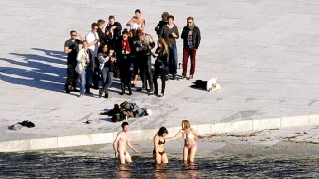 BARKEDE JURISTER: Nesten hele denne gjengen av nordiske juriststudenter badet fra operaen i ettermiddag. Noen kastet alle plagg, mens andre beholdt et minimum på. Foto: Øistein Norum Monsen