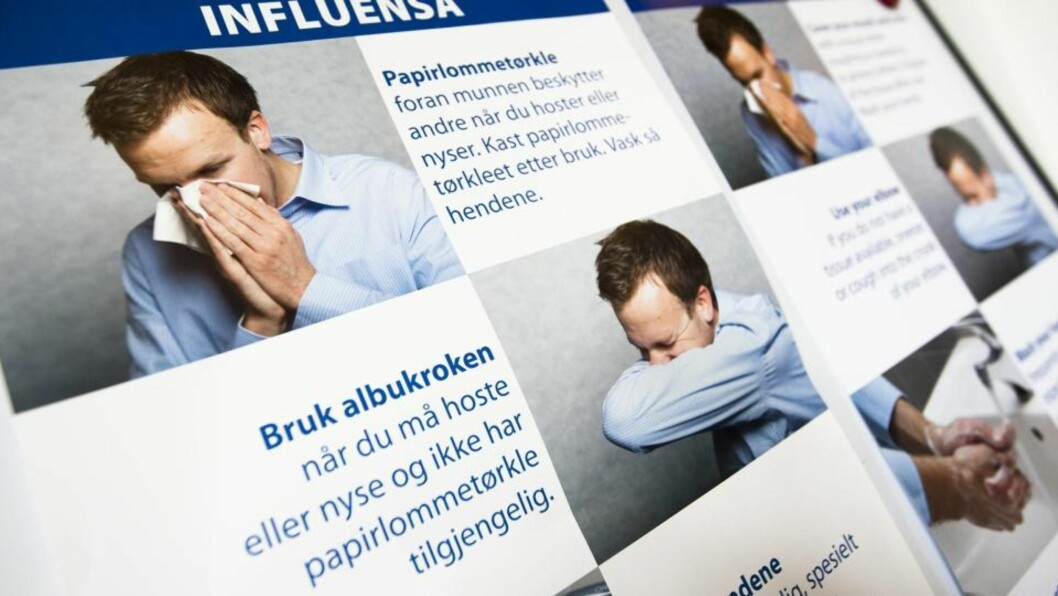 <strong>FORHOLDSREGELER:</strong>   Informasjonsmateriell fra helsemyndighetene om forholdsregler i forbindelse med influensa A (H1N1 / Svineinfluensa ).  Foto: SCANPIX