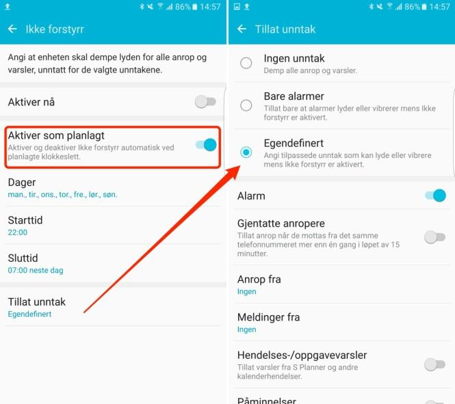 <strong>SAMSUNG-INNSTILLINGENE:</strong> Du får noen flere valgmuligheter her enn på iPhone. Skjermdump: Kirsti Østvang