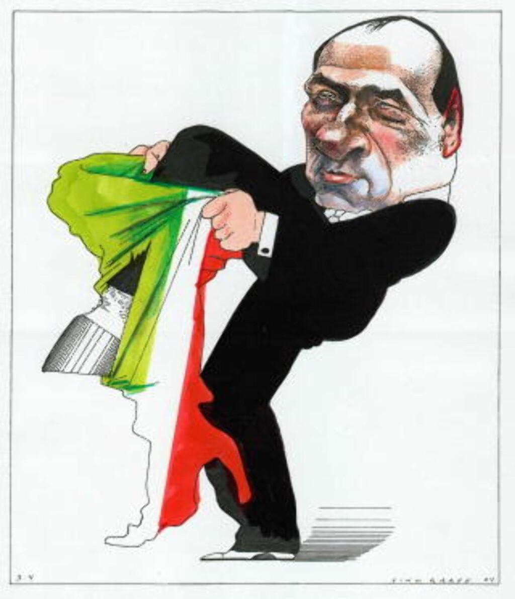 STATSMINISTER: Silvio Berlusconi. Tegning: Finn Graff