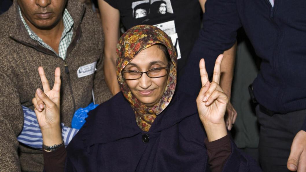 <strong>SULTESTREIKER:</strong> I tre uker har uavhengighetsforkjemperen Aminatou Haidar sultestreiket på den spanske ferieøya Lanzarote for å rette verdens søkelys mot situasjonen i Vest-Sahara, som har vært okkupert av Marokko siden 1975. Foto: REUTERS / Borja Suarez / SCANPIX