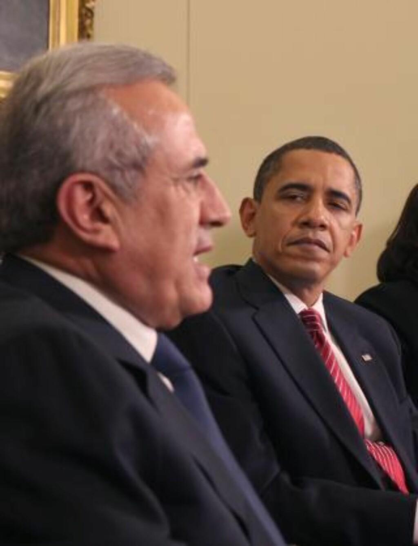 HADDE MØTE: Libanons president Michel Sleiman og USAs president Barack Obama. Foto: EPA/Dennis Brack/Scanpix