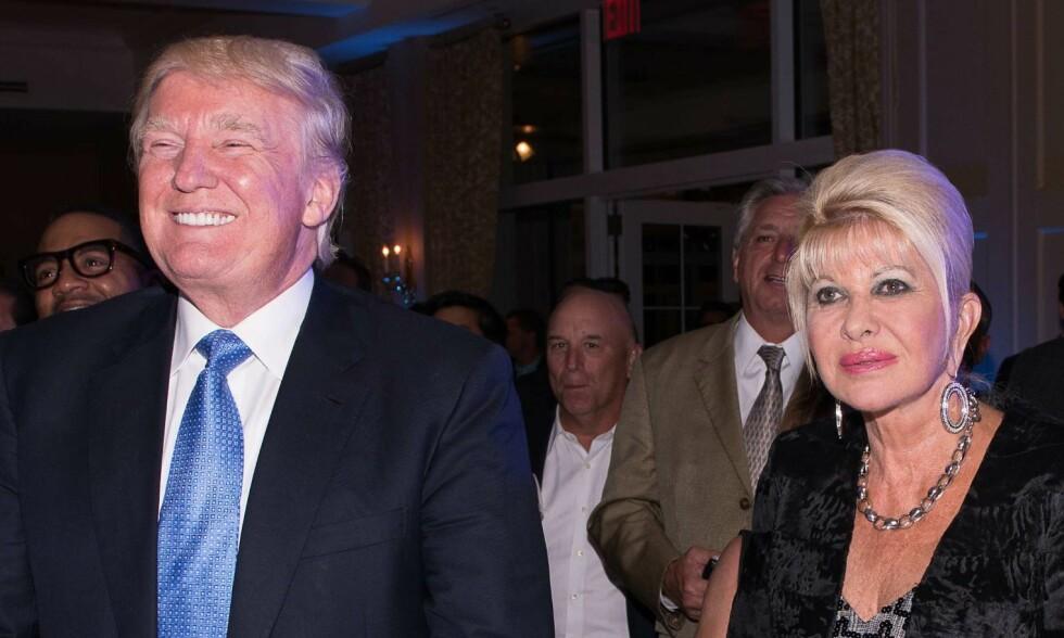 2014: Donald Trump og ekskona Ivana Trump avbildet sammen i forbindelse med en golfturnering. Foto: Dave Kotinsky  / AFP