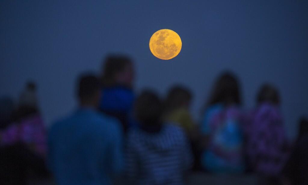 CAPE TOWN: Familier i Cape Town i Sør-Afrika samles for se supermånen stige opp mot himmelen. Foto:  EPA / NTB Scanpix