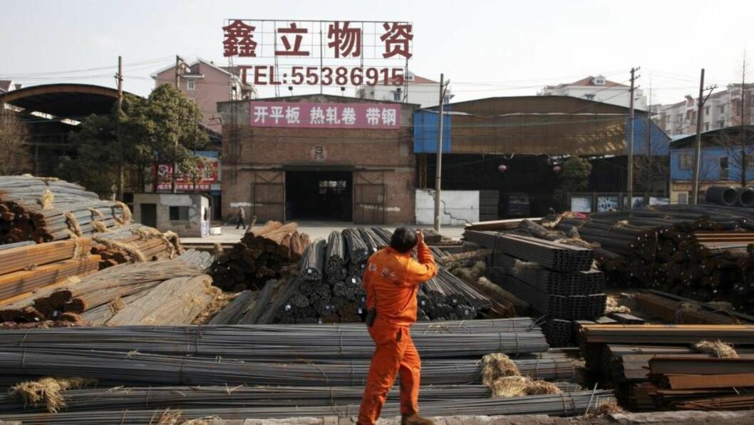 STOR KAPASITET: Her venter man på kunder som vil kjøpe stålprodukter. Kina har lenge jaktet på Tyskland i kampen om å bli verdens største eksportør, og fredag bekreftet offisielle tyske tall at kineserne i løpet av siste del av 2009 passerte tyskerne på dette området. I 2007 avløste Kinas økonomi den tyske som verdens tredje største, etter den amerikanske og den japanske. Foto: EPA/SCANPIX