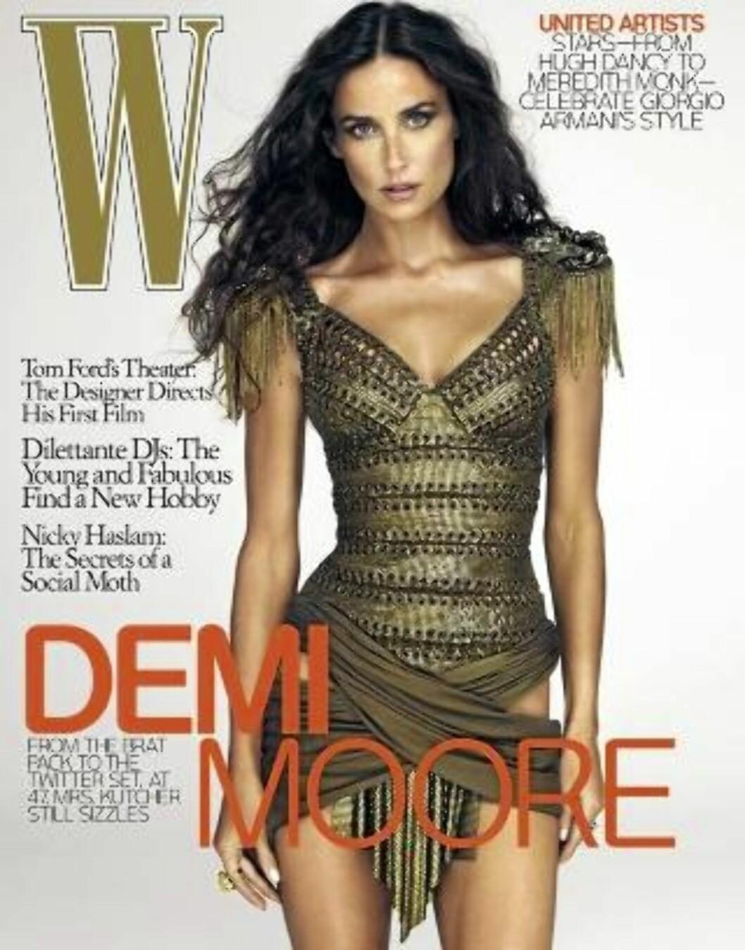 <strong>MANGLER LITT AV HOFTEN:</strong> Hvis du ser nøye på bildet, kan du se at den venstre hoften til Demi Moore ser litt merkelig ut. Foto: W Magazine