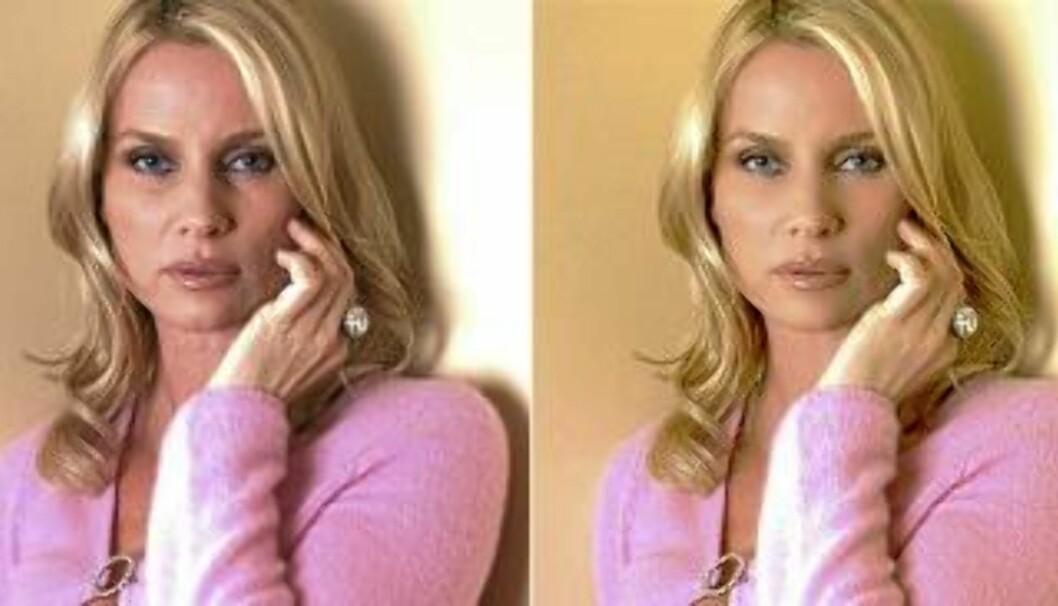 <strong>FØR OG ETTER:</strong> Nicollette Sheridan ser yngre og freshere ut på det retusjerte bildet til høyre. Det til venstre er det originale. Printscreen: iWanex Studio