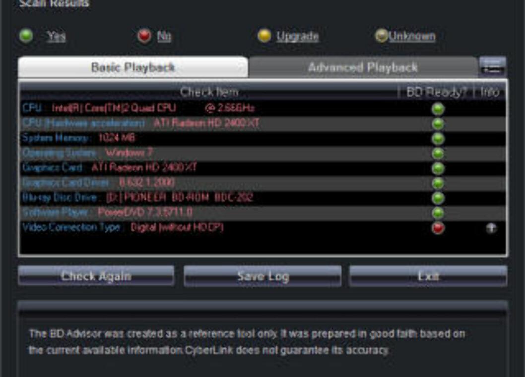 HDCP-TRØBBEL: Cyberlinks BD Advisor forteller at tilkoblingen til skjermen ikke støtter HDCP.
