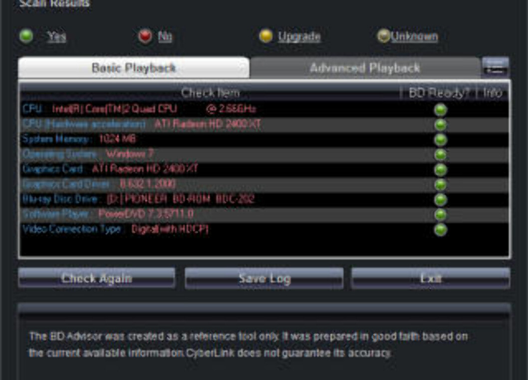ALT OK: Her har vi koblet til en annen skjerm som vi visste støtter HDCP, og dermed rapporterer BD Advisor at det er grønt lys for Blu-ray.