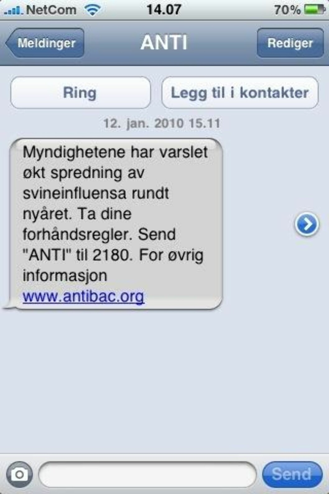 <strong>SMS:</strong> Antibac.org har sendt tekstmeldinger til et ukjent antall personer, og ignorert regelen om å innhente samtykke på forhånd.
