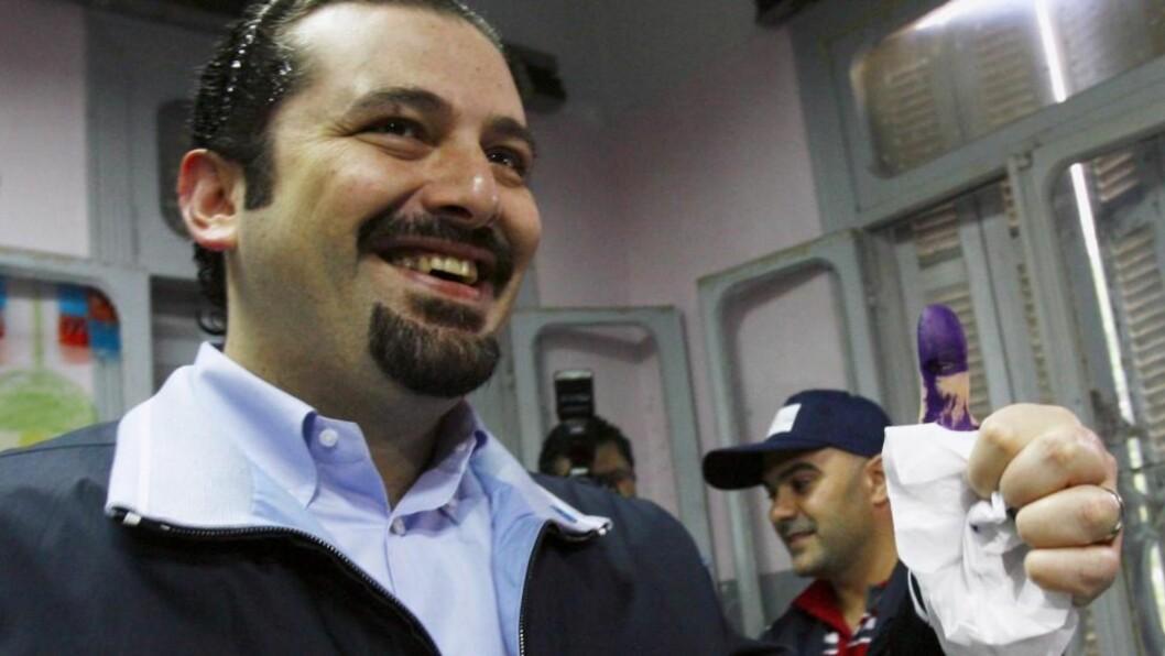 ERKLÆRER SEIER: Lederen for den vestligstøttede 14. mars-alliansen, Saad al-Hariri, erklærer at alliansen har vunnet valget til ny nasjonalforsamling. Foto: REUTERS/SCANPIX