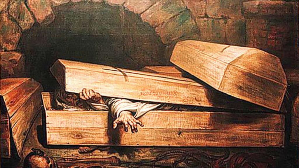 FRYKT: På 1800-tallet illustrerte flere malere folks frykt for å bli begravd levende. Her et bilde av den belgiske kunstneren Antoine Wiertz fra 1854.Foto: WIKIMEDIA COMMONS