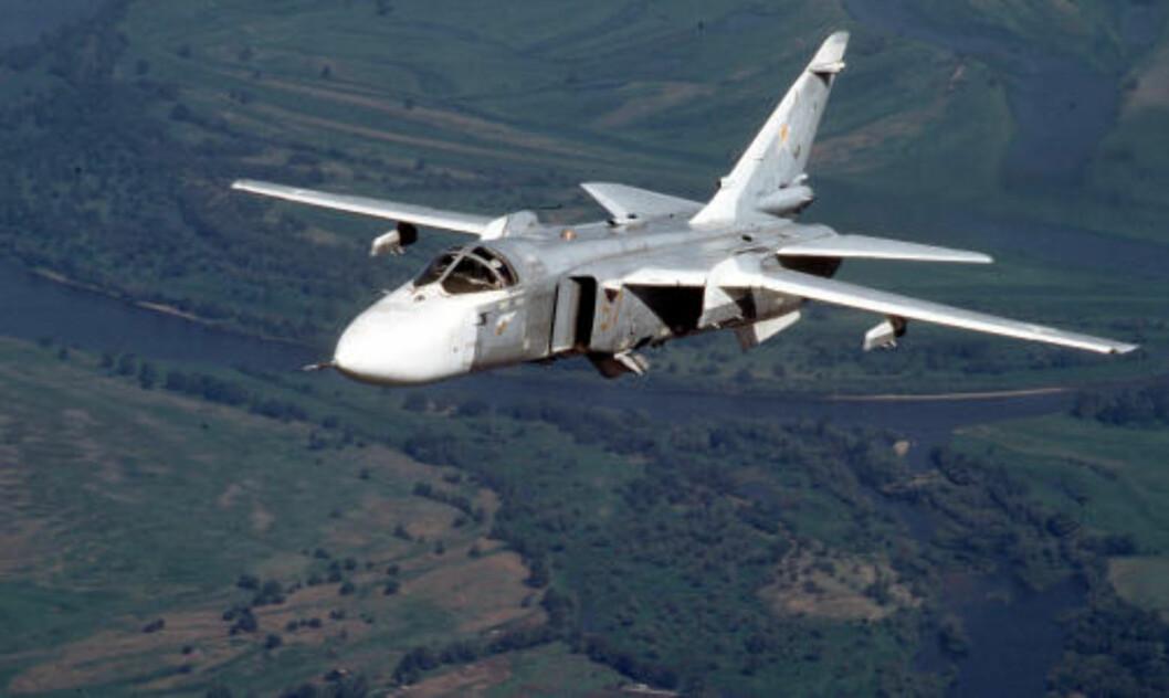 HVOR MANGE: Et russisk Su-24 Fencer mellomdistanse bombefly på tokt. Bombefly av denne typen skal ha vært brukt over Georgia. Spørsmålet er hvor mange russiske jagerfly som virkelig ble skutt ned under krigen - og hvem som skjøt dem ned. Foto: AP/File