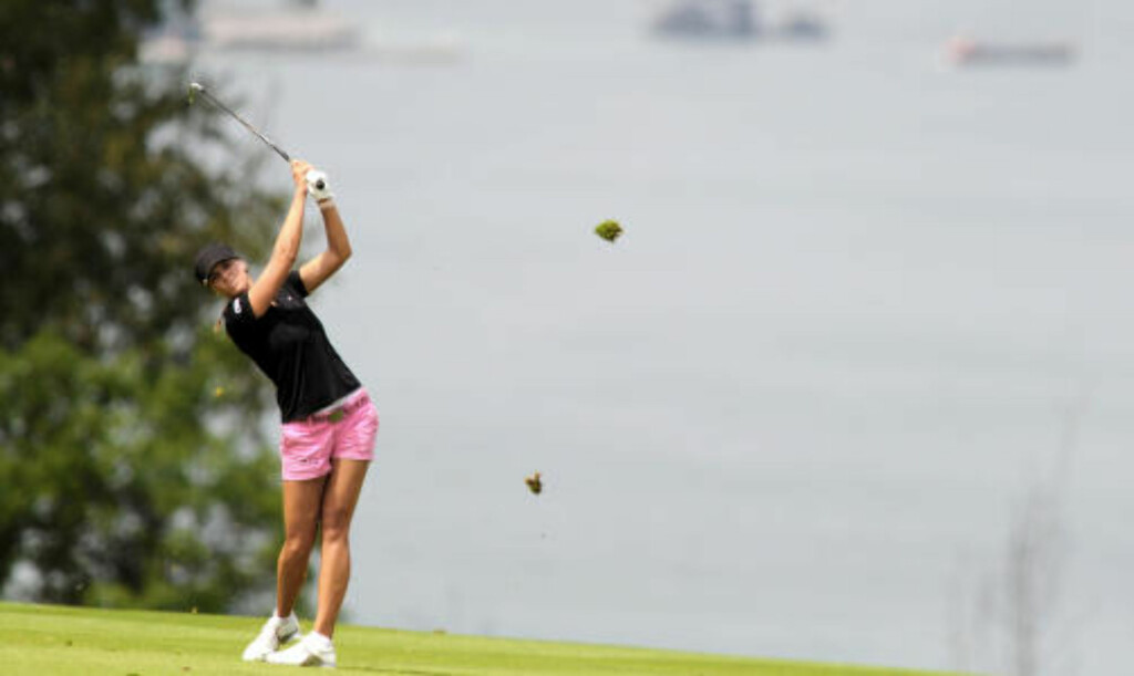 TO OVER: Marianne Skarpnord åpnet Evian Masters to over par.Foto: SCANPIX / AFP PHOTO / JEAN-PIERRE CLATOT