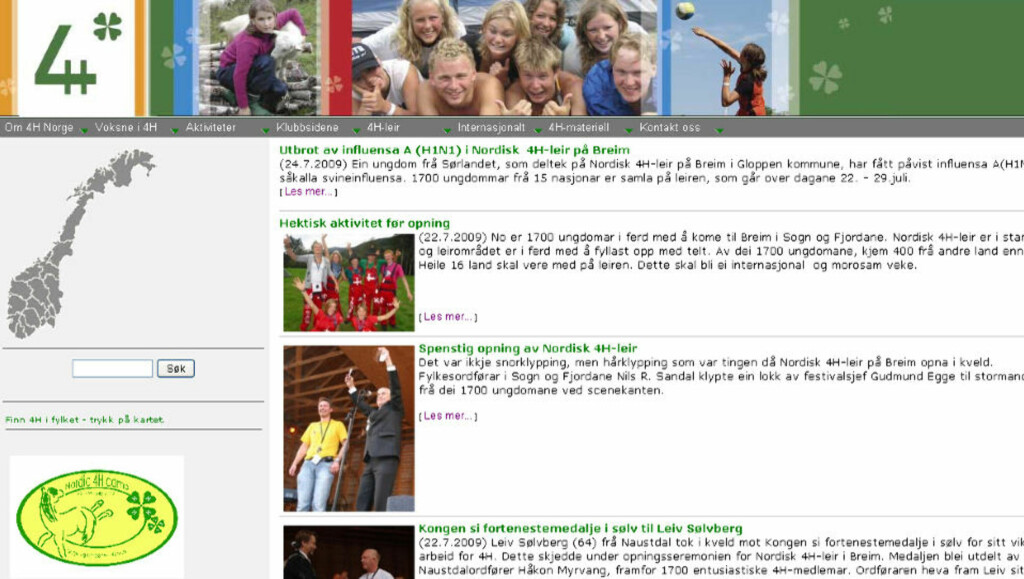 FLERE PÅ ISOLAT: På 4H sine hjemmesider opplyser de om svineinfluensasmitten på leiren. Foto: Faksimile 4H.no