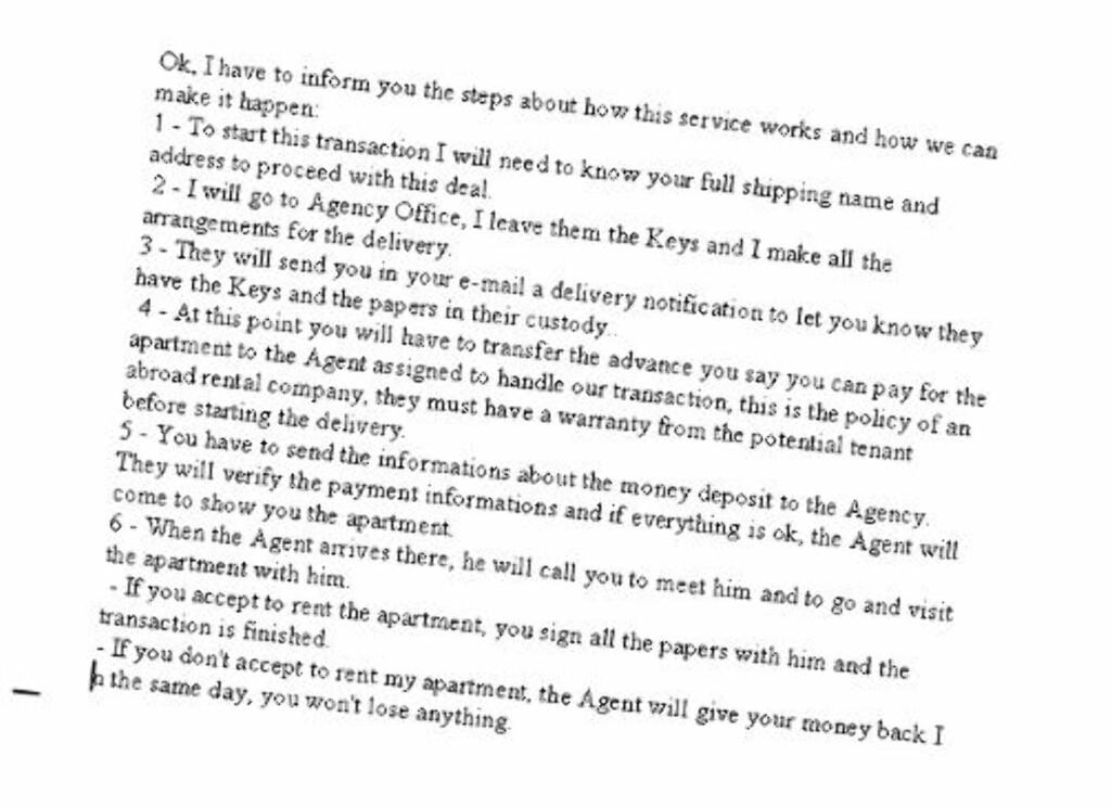 KJENT SVINDEL: Denne punktlista, der annonsøren ber den mulige leietakeren om å sende dem forskuddsbetaling før de kan se leiligheten, går igjen i flere rapporter om svindelforsøk både i Norge og utlandet. Foto: Faksimile fra epost
