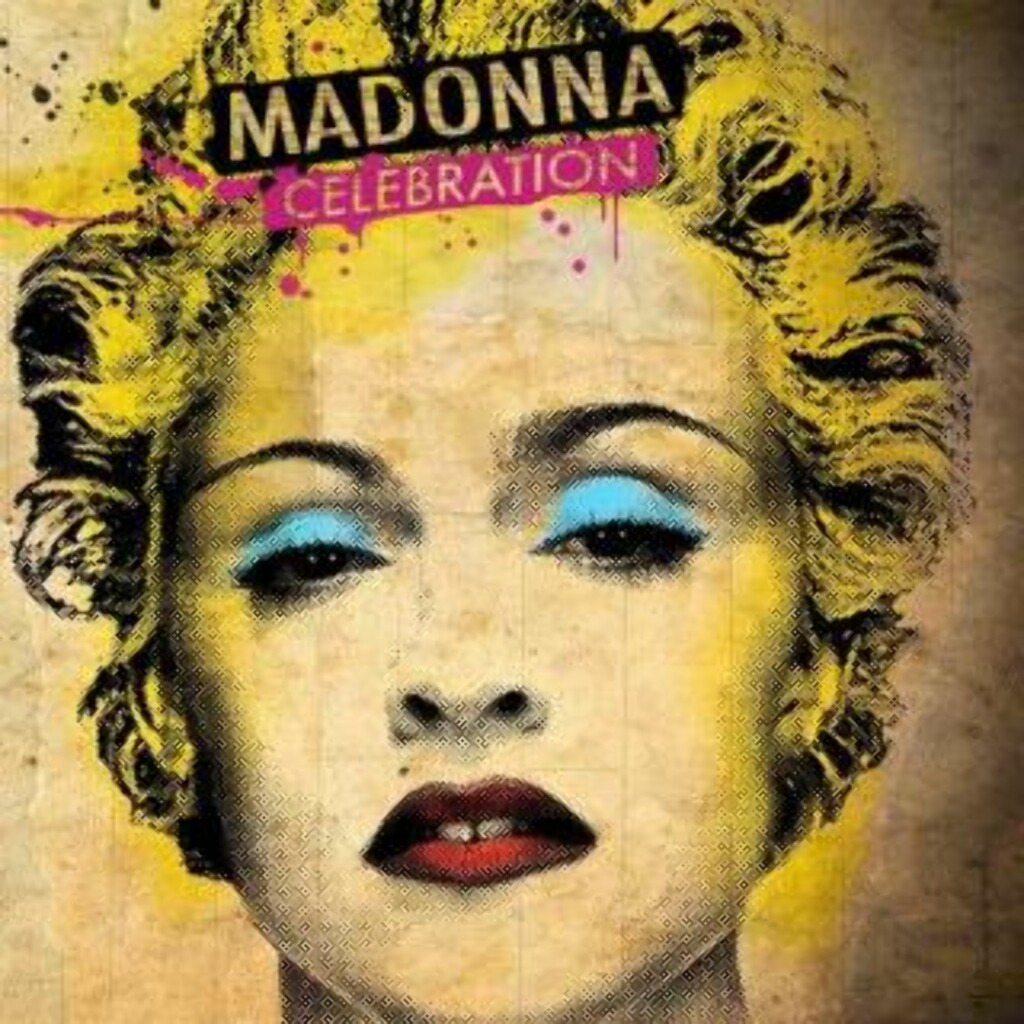 CELEBRATION: Slik ser coveret på Madonnas greatest hits-album ut. Coveret er designet av streetart-kunstneren «Mr. Brainwash».