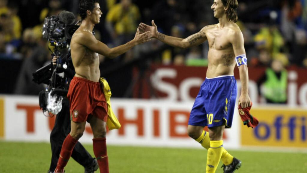 NORGE KAN SENDE BEGGE DISSE UT AV VM: Portugal og Cristiano Ronaldo kjemper med Sverige Zlatan Ibrahimovic om andreplassen i gruppe 1. Om begge taper for gruppeleder Danmark på bortebane, står de i fare for å bli passert av Norge i kampen om VM-playoff. Foto: Niklas Larsson, AP/Scanpix