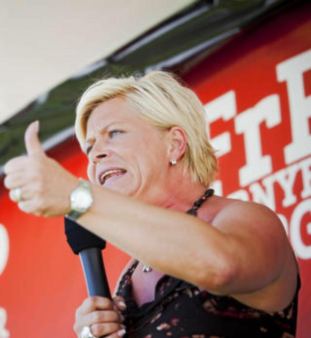 VIL ÅPNE FØR MILJØ-RAPPORTER: Frp-leder Siv Jensen. Foto: Tore Meek / Scanpix